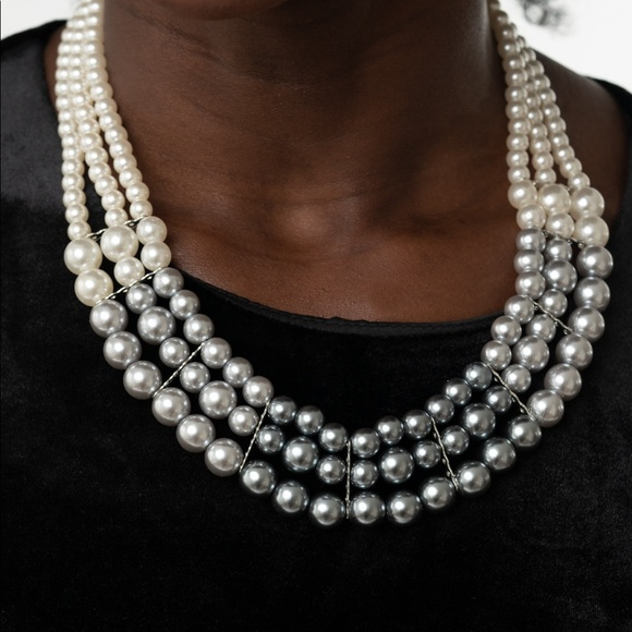 Multi-Strand Pearl Necklace w/Matching Earrings